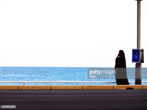 silence vs noise / valorisation du silence #5 - burka stock pictures, royalty-free photos & images