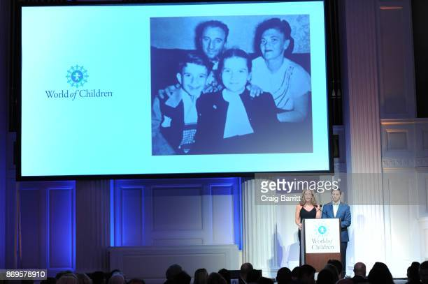 Silene St Bernard and Craig Leibowitz speak on stage during World of Children Awards 2017 at 583 Park Avenue on November 2 2017 in New York City