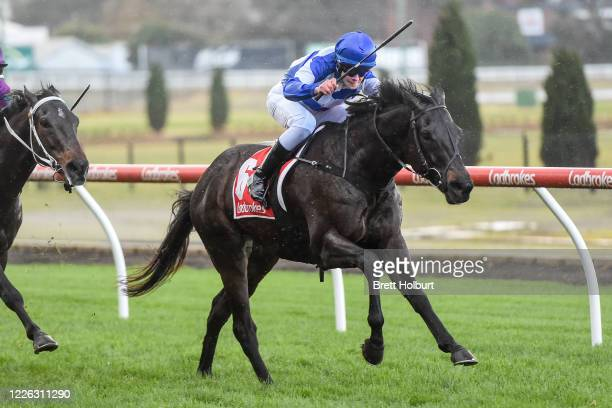 Silent Command ridden by Lachlan Neindorf wins the Ladbrokes Back Yourself Handicap at Moonee Valley Racecourse on July 12, 2020 in Moonee Ponds,...