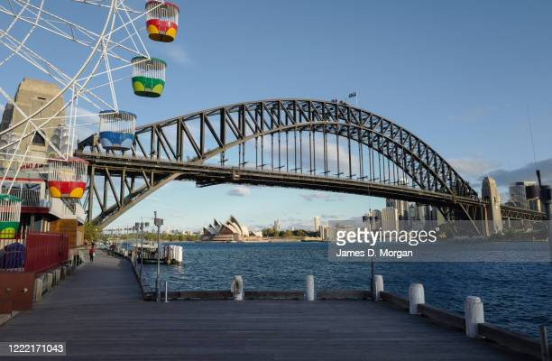 A silent Luna Park ferris wheel and the Harbour Bridge and Opera House at sunset on May 01 2020 in Sydney Australia The NSW government has eased...