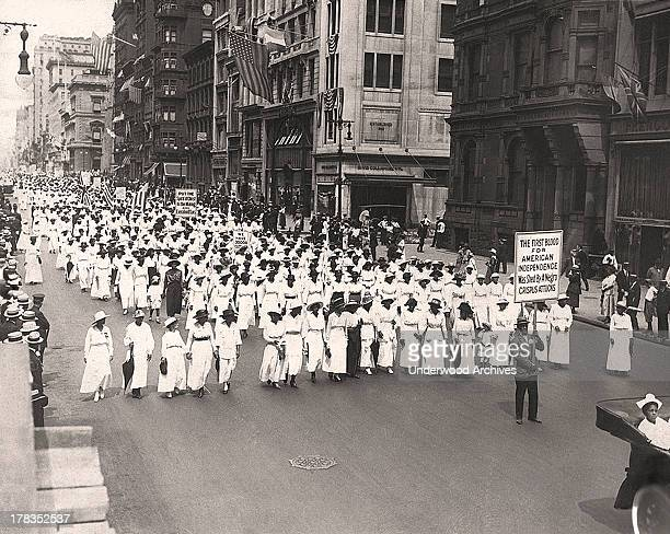 A silent march to protest the police treatment of blacks during riots in East St Louis New York New York 1917 They marched down Fifth Avenue on that...
