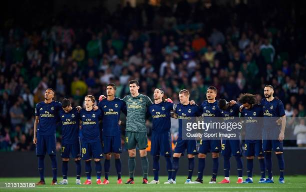 Silent minute prior to the Liga match between Real Betis Balompie and Real Madrid CF at Estadio Benito Villamarin on March 08, 2020 in Seville, Spain.