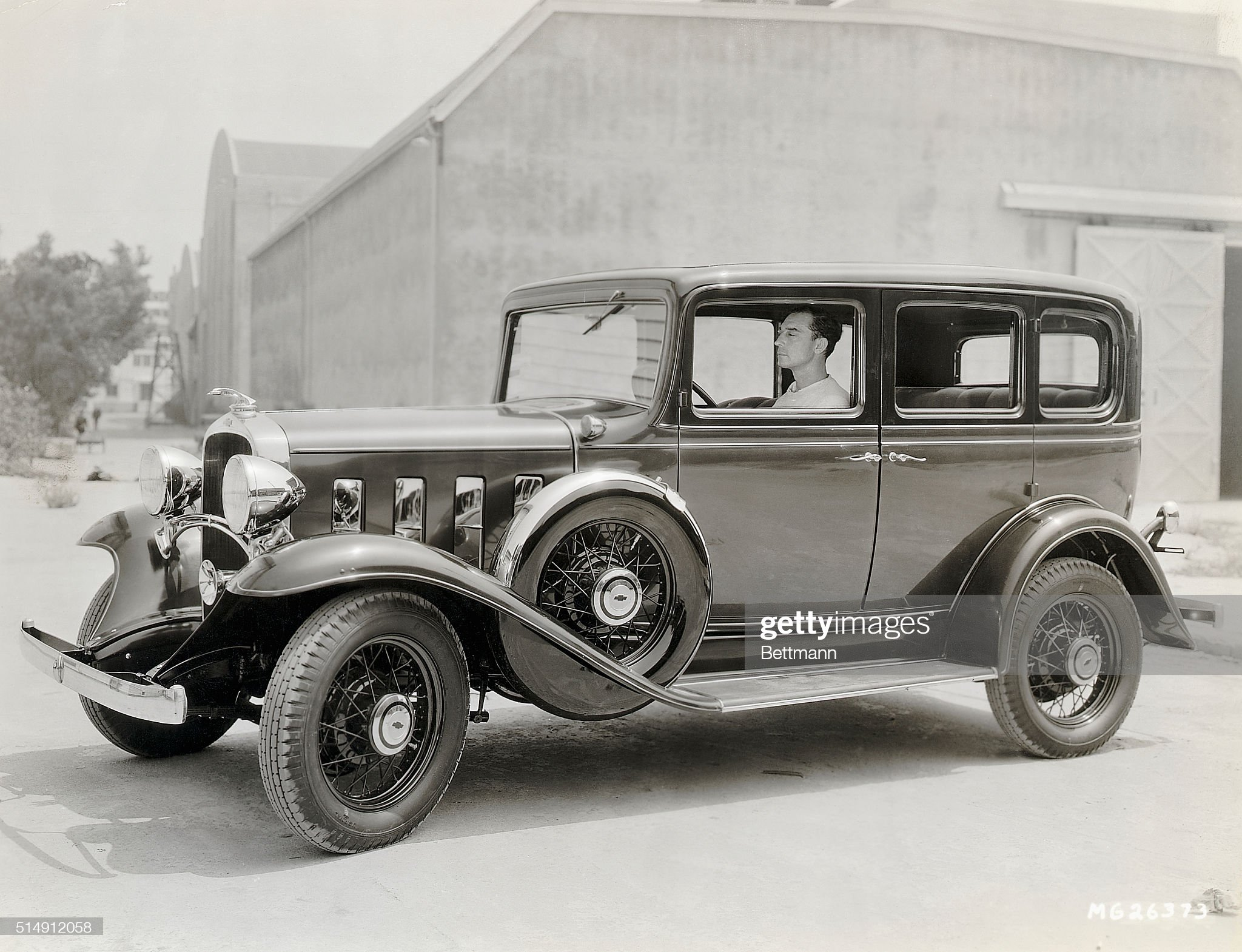 Buster Keaton Driving His 1932 Chevrolet : News Photo