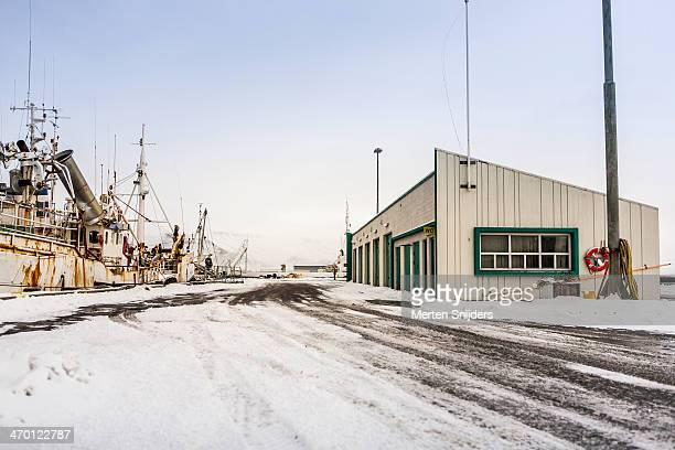 silent snow covered harbour pier - merten snijders stock pictures, royalty-free photos & images