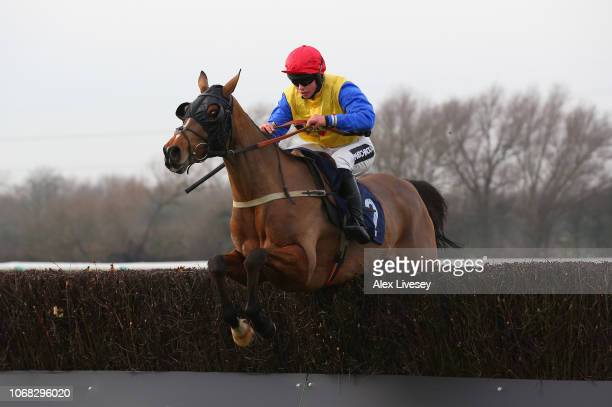 Silent Steps ridden by Bryony Frost clears the second from last fence on their way to victory in the Bet At toalscom Mares' Handicap Steeple Chase at...