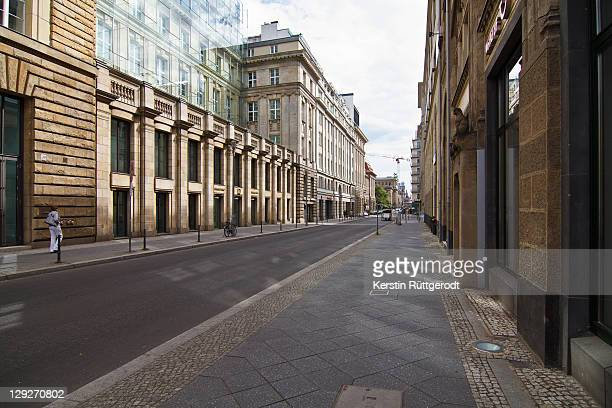 silent street at berlin - high street stock pictures, royalty-free photos & images