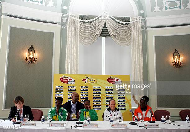 Sileshi Sihine of Ethiopia Derartu Tulu of Ethiopia Tara QuinnSmith of Canada and Lorna Kiplagat of The Netherlands field questions during the 14th...