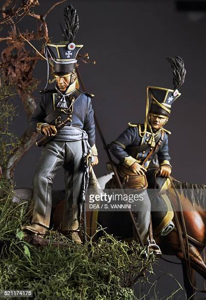 Silesian Uhlan irregulars on patrol before the Battle of Quatre-Bras, June 1815, 5.4 cm, toy soldiers from the Napoleonic era, made by Nello...