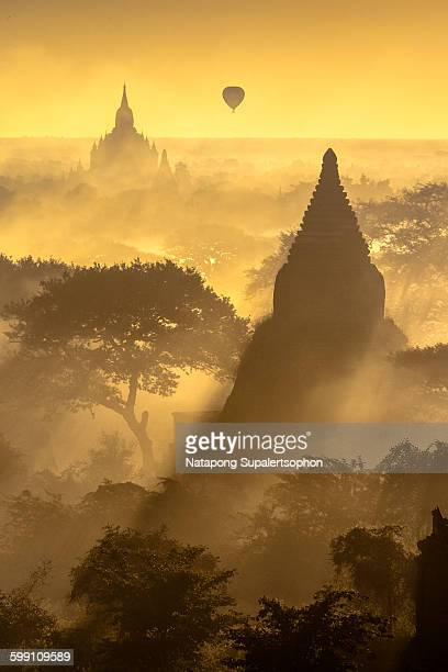 Silhouette Bagan Pagoda in the Morning Time
