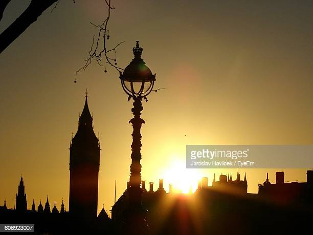 Silhouette Big Ben In City Against Sky During Sunset