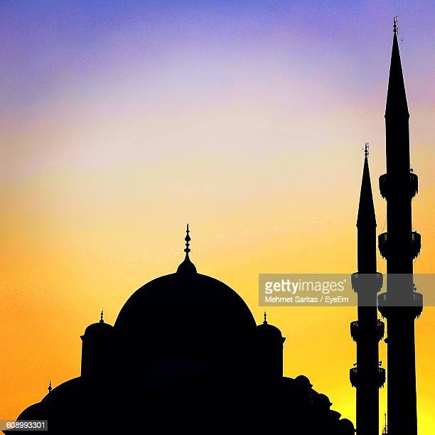 Silhouette Blue Mosque At Sunset