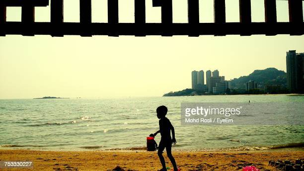 Silhouette Boy Carrying Toy At Beach On Sunny Day
