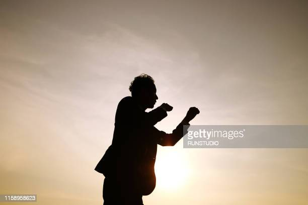 silhouette businessman in boxing pose at sunset - combat sport stock pictures, royalty-free photos & images