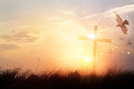 Silhouette christian cross on grass at sunrise background with miracle bright lighting, religion and worship concept 1023227352