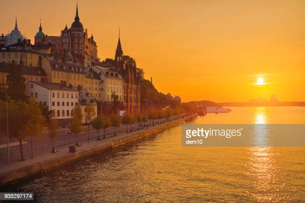 silhouette cityscape of stockholm, sweden - stockholm stock pictures, royalty-free photos & images