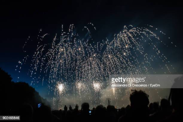 Silhouette Crowd Against Firework Display At Night