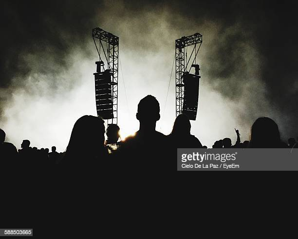silhouette crowd at music concert against sky - cielo stock pictures, royalty-free photos & images