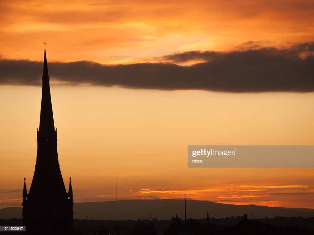 A silhouette during sunset : Stock Photo