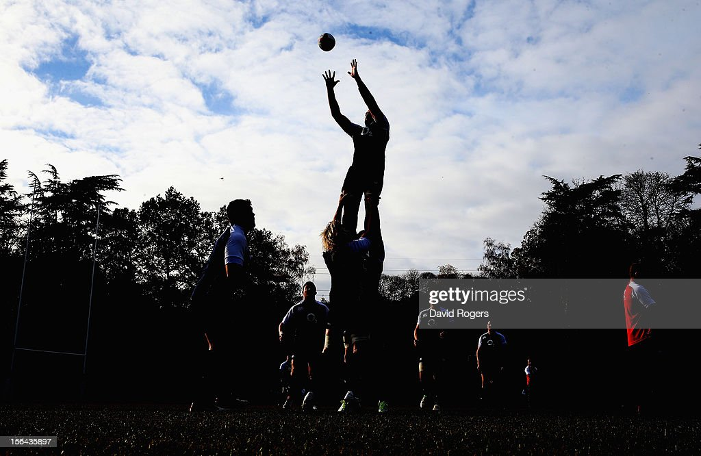 A silhouette during the England training session held at Pennyhill Park on November 13, 2012 in Bagshot, England.