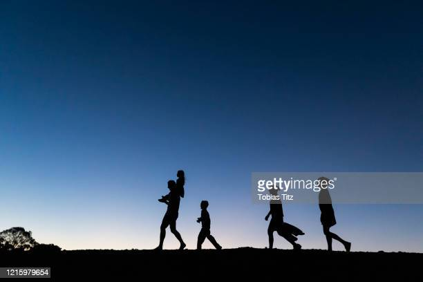 silhouette family walking against blue sky at dusk - five people stock pictures, royalty-free photos & images