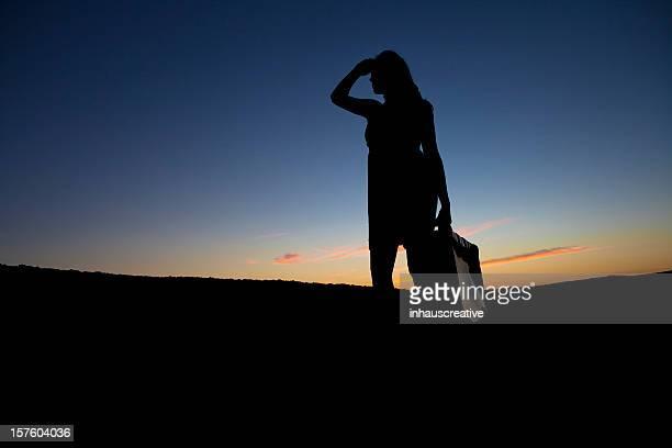 Silhouette Female Traveler