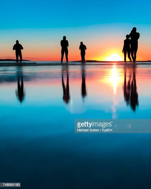 Silhouette Friends Enjoying In Sea Against Sky During Sunset