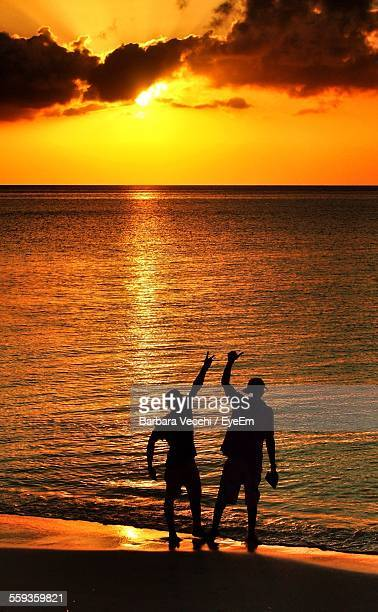 Silhouette Friends Enjoying On Beach At Sunset