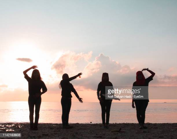 silhouette friends gesturing while standing at beach against sky during sunset - vier personen stockfoto's en -beelden