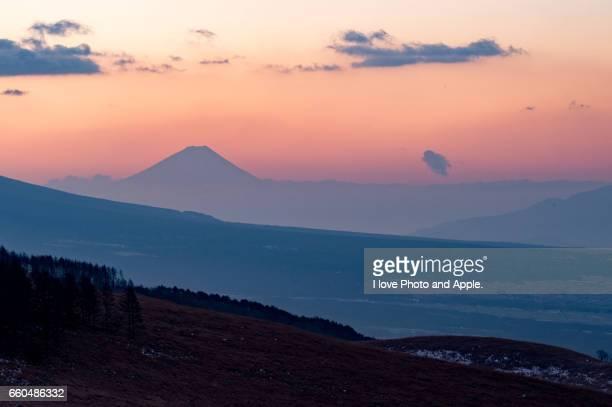 Silhouette Fuji in the orange sky