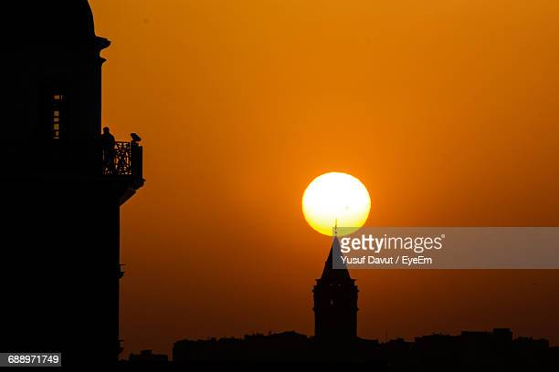 Silhouette Galata Tower Against Clear Sky During Sunset