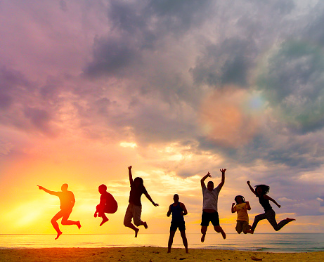 Silhouette Happy family people group celebrate jump for good life on weekend concept for win victory, person faith in financial freedom healthy wellness, Great insurance team support retreat together in summer. 1179405499