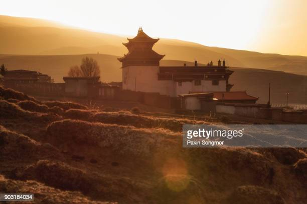 Silhouette image chinese temple or tibet style and landmarks public place in Ganzi