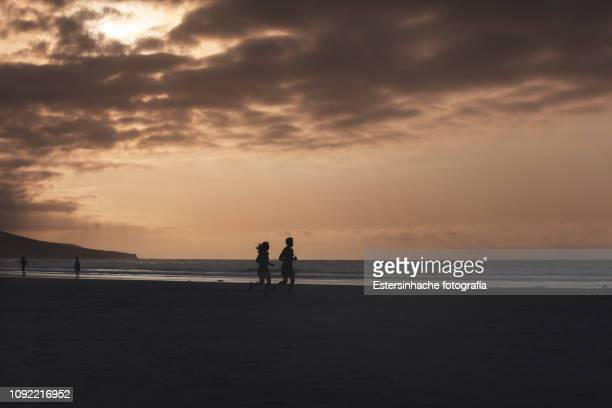 silhouette image of a couple running down the beach