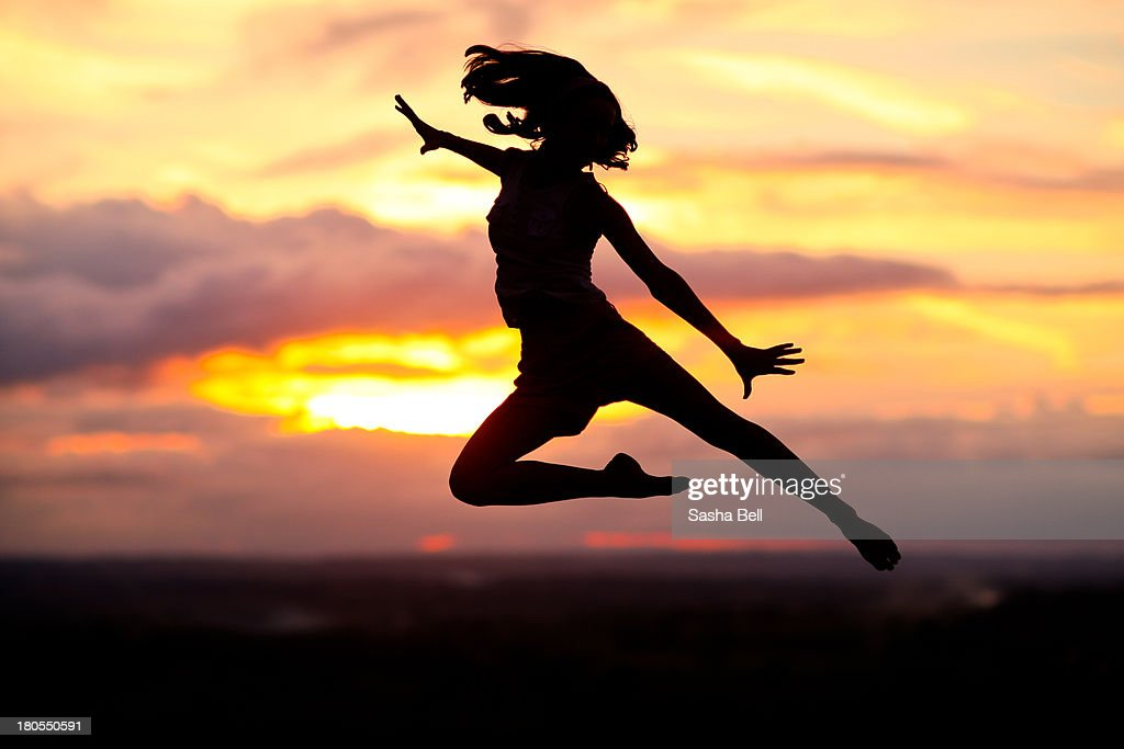 Silhouette Jump : Stock Photo