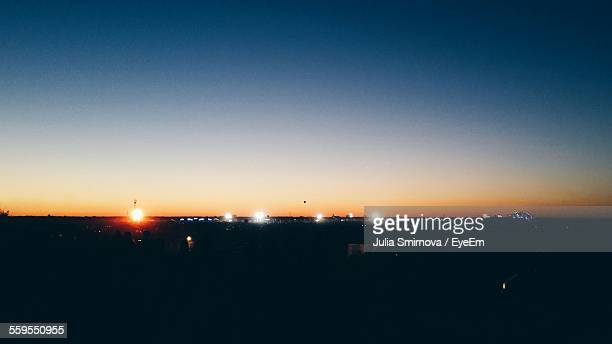 silhouette landscape against clear sky at sunset - nizhny novgorod oblast stock photos and pictures