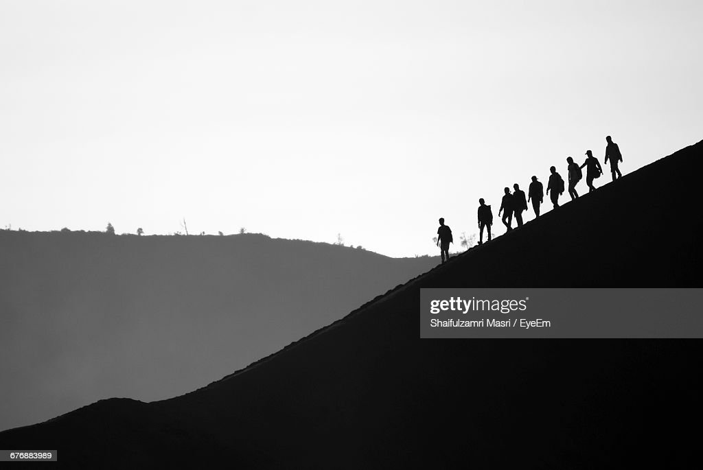 Silhouette Landscape Against Clear Sky : Stock Photo