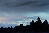 silhouette lava formations odadahraun missetaeterlava field