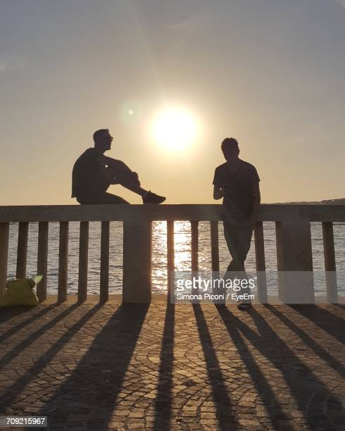 Silhouette Male Friends By Sea Against Sky During Sunset