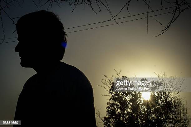 Silhouette Man Against Clear Sky During Sunset