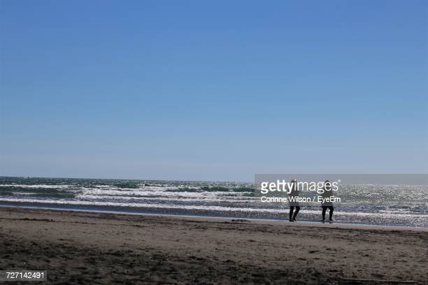 silhouette man and woman walking at beach against clear sky - corinne paradis photos et images de collection