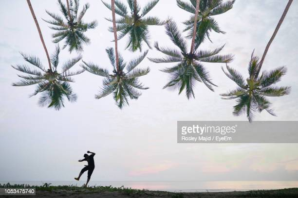 Silhouette Man Dancing At Beach Against Sky