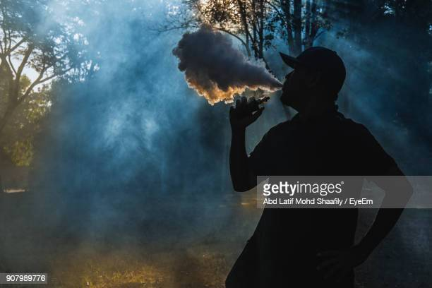 Silhouette Man Smoking Electric Cigarette In Forest