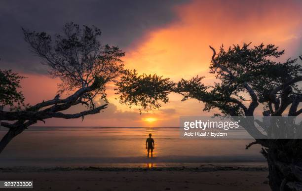 silhouette man standing in sea against sky during sunset - ade rizal stock photos and pictures