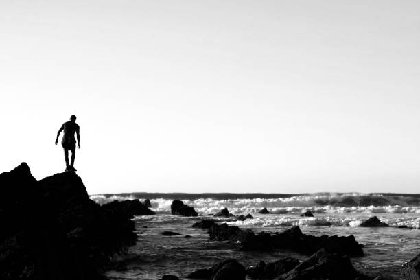 Silhouette Man Standing On Rock By Sea Against Clear Sky