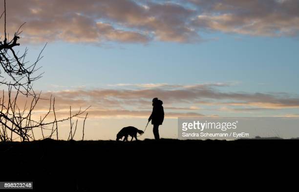 Silhouette Man Standing With Dog On Field Against Sky During Sunset