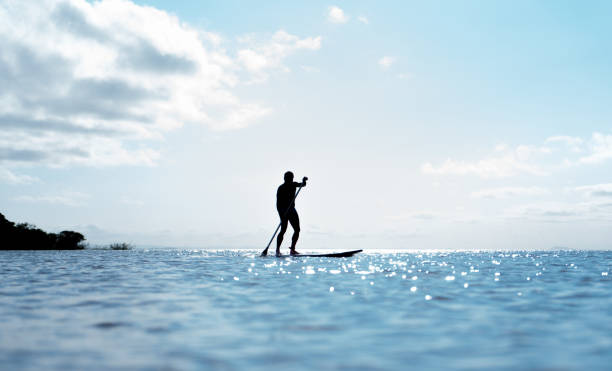 Silhouette Man Surfing In Sea Against Sky