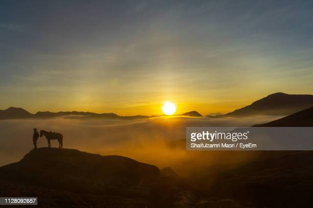 silhouette man with horse standing on mountain against sky during sunset - shaifulzamri stock pictures, royalty-free photos & images