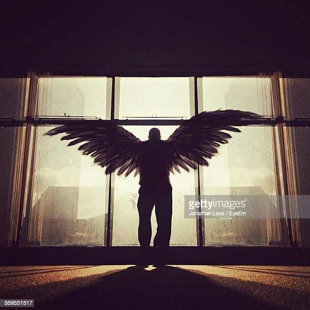 silhouette man with wings standing in front of window - male angel stock photos and pictures