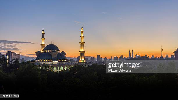 Silhouette Mosque at Kuala Lumpur during sunrise