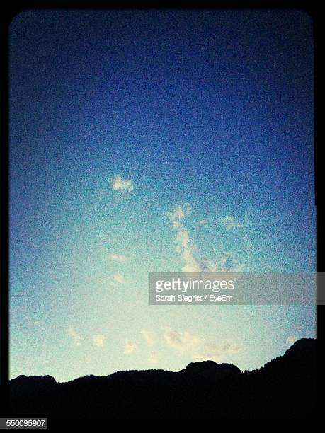 silhouette mountains against blue sky - transferbild stock-fotos und bilder